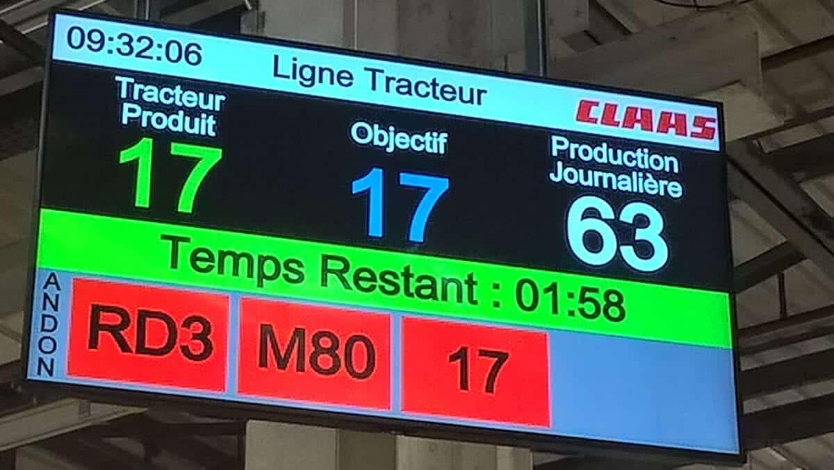 Affichage digital d'alerte andon PingFlow dans l'usine CLAAS